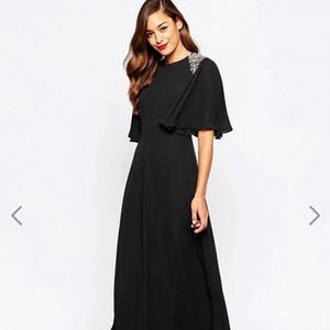 ASOS black sequin flutter sleeve dress